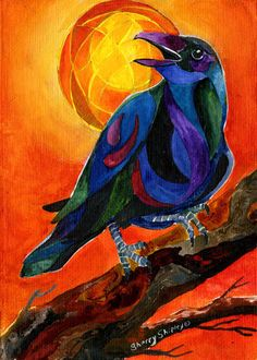 SUMMER CROW 1 8X10 BIRD print by Artist Sherry Shipley in Collectibles, Art | eBay