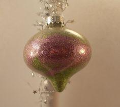 Green and Pink Glitter Glass Ornament OOAK SALE by FriendlyDane, $5.00