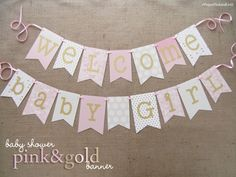 Pink and Gold Baby Shower Banner Congratulations from JacqsCraftyCorner! Decorate your Baby Shower in this Pink and Shimmering Gold banner. You can hang this banner on your mantle, in your nursery, ab Botanas Para Baby Shower, Decoracion Baby Shower Niña, Idee Baby Shower, Baby Shower Themes, Baby Boy Shower, Shower Ideas, Baby Girl Shower Decorations, Baby Shower Princess, Baby Princess