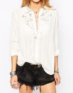 Image 3 ofFree People Shirt with Crochet Detail Neckline