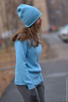 Шапка вязаная Feelmore cashmere semplice - голубой,синий,голубая шапка