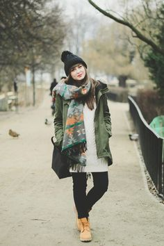 Sweater dress, black leggings, army jacket, scarf, hat... Without the boot. Change them to a different shoe.