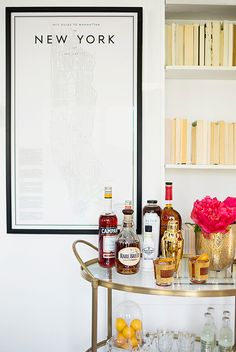 beautiful connaught bar cart from DwellStudio, styled by sfgirlbybay