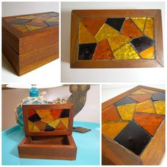 Color: brown smooth nice wood and yellow, orange and dark amber cut glass mosaic. Mosaic Art, Mosaic Glass, Box With Lid, Cut Glass, Trinket Boxes, Midcentury Modern, 1960s, Mid Century, Wood
