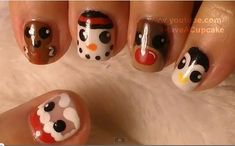 First of all, I hope everyone had a great holiday season!!! I thought I share this awesome video I found where Youtube user, IHaveACupcake, gives step-by-step instructions to create this adorable Santa & Friends nail design.  There are five different features to this nail art design.  Although Christmas has passed, you can still do the gingerbread, snowman, and penguin design.