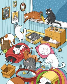 """Lingvistov on Instagram: """"Artwork for the new Lingvistov Cats Calendar 2019! Pre-order now - Link in profile #cats_of_instagram #illustration #catsofinstagram…"""" Hate Cats, Funny Cats And Dogs, Crazy Cats, Cat Pattern Wallpaper, Cat Wallpaper, Cat Jokes, Cat Humour, Cat Calendar, Funny Cat Photos"""