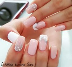 Cute Acrylic Nails, Cute Nails, Nagellack Design, Bride Nails, Gel Nail Art Designs, Sparkle Nails, Pretty Nail Art, Shellac Nails, Dream Nails