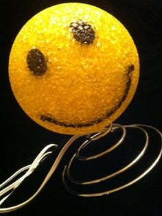 Retro Yellow Smiley Face Lamp by JaybirdFinds on Etsy -- SOLD
