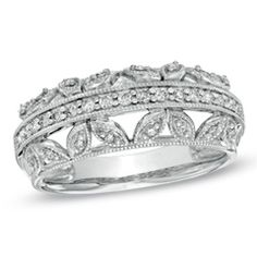 1/4 CT. T.W. Diamond Vintage-Style Band in 10K White Gold
