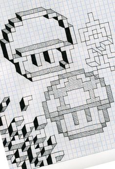 Graph paper fun by Utahdude Graph Paper Drawings, Graph Paper Art, Doodle Drawings, Doodle Art, Pixel Art, Geometric Drawing, Geometric Art, Zentangle, Graph Paper Notebook