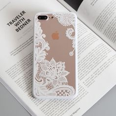 Lace iPhone 8 Plus Cases - iPhone 7 Plus Floral henna lace case - Henna flower lace iPhone 8 Plus clear cover in black and white - Black White Pink Red Iphone 5s Covers, Iphone 7 Plus Cases, New Iphone, Apple Iphone 6, Telephone Iphone 7, Iphone 7 Plus Funda, 7 Plus Black, Coque Iphone 5s, Portable Iphone
