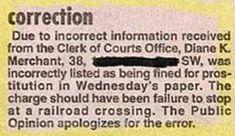 Funny Newpaper correction