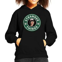 Stranger Things Dustin Starbucks Kid's Hooded Sweatshirt Black-Small (5-6 yrs)