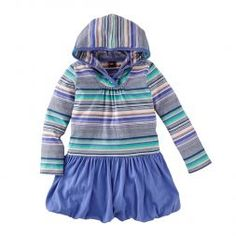 Hooded Striped Dress For Little Girls | Tea Collection