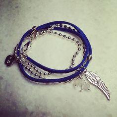 bracelet double tours cordon de suèdine chaine boules et breloques : Bracelet par eden-bijoux