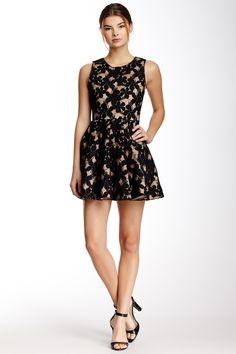 Floral Mesh Flare Dress//