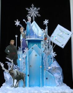 This is a large Frozen ice blue castle centerpiece. It is made with a lot of detail, making this castle centerpiece the main decoration piece for