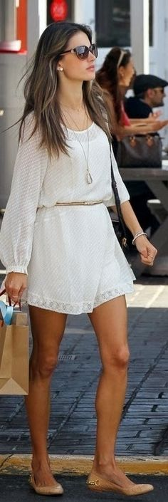 All White Belted Dress With Shades
