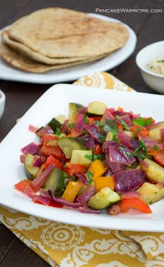 Greek Vegetables are a simple, tasty way to add vegetables into your diet. Vegan, gluten free, low fat, paleo and easy to make. | www.pancakewarriors.com