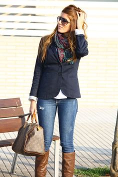 blazer, jeans, scarf and riding boots- my usual outfit