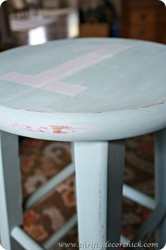 Beautiful stool using Paris Gray and Duck Egg Blue Chalk Paint® decorative paint by Annie Sloan.