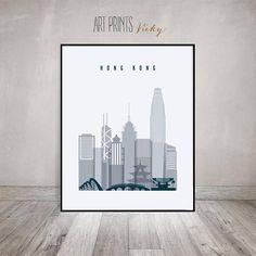Hong Kong poster Hong Kong art print Hong Kong skyline Wall