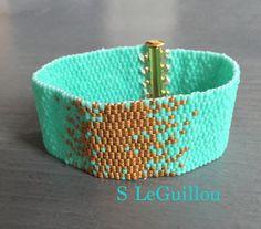 Bracelet or & turquoise tissage peyote 2015 SLeGuillou