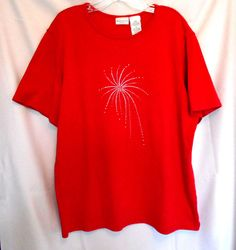 White Stag Red Top Size 16W Cotton Blend Adorned with Studs Scoop Neck Short Sl #WhiteStag #KnitTop #Career