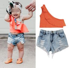 Shorts Outfit Summer Set RYGHEWE 2Pcs Newborn Baby Girl Clothes Off Shoulder Flower Ruffle T-Shirt