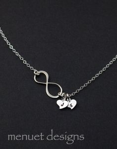 Silver Infinity Necklace.Initial Heart by MenuetDesigns, $28.50
