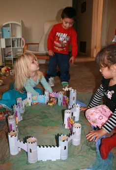 What a great way to create a castle for the kids to play with. Not only can they join in the fun of making the castle, they will spend countless hours playing with their toy characters, animals, and vehicles as they explore  castle life. Materials Needed:  Toilet Rolls Paint Paint brushes Cardboard (old cereal boxes are perfect) Glue gun