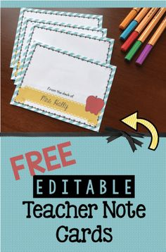 FREE Teacher Note Cards — Keeping My Kiddo Busy - FREE Teacher Note Cards – editable to add your name! Perfect for positive notes to home to parent - Teacher Cards, Teacher Notes, Teacher Gifts, Teacher Office, Teacher Stuff, Parent Notes, Nurse Office, Math Teacher, Positive Notes Home