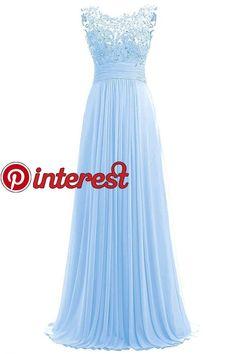 24899afa98d Carnivalprom Damen Chiffon Abendkleider Lange Elegant HochzeitsKleid Spitze  Cocktailkleider(blau