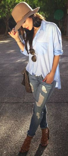 #thanksgiving #fashion ·  Beige Hat // Blue Tulle Shirt // Ripped Jeans // Sandals Pumps