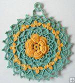 Vintage Blue & Yellow Potholders Crochet Pattern - PB082  http://www.MaggiesCrochet.com