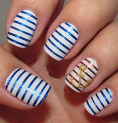 14 Refreshing Nautical Nail Art Designs for 2014 - Pretty Designs Love Nails, Fun Nails, Pretty Nails, Nail Art Stripes, Striped Nails, Nautical Nail Art, Nautical Stripes, Blue Stripes, Navy Blue