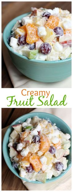 This+creamy+fruit+salad+recipe,+using+Greek+yogurt,+is+sweet+and+creamy+without+the+added+calories!++|+tastesbetterfromscrach.com+via+@betrfromscratch