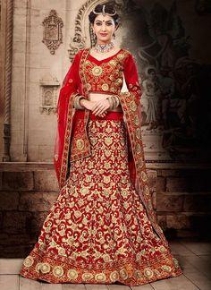 Beige And Red Net Bridal Lehenga Choli | Designer Lehenga Choli | Wedding Lehenga Choli | Item Code: 2859