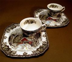 Johnson Brothers - England- FRIENDLY VILLAGE - Snack Plate & Cup - TWO SETS! #JohnsonBrothers