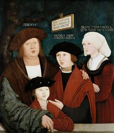 Bernhard Strigel Portrait of the Cuspinian Family, , Private collection. Read more about the symbolism and interpretation of Portrait of the Cuspinian Family by Bernhard Strigel. Die Renaissance, Renaissance Clothing, Renaissance Fashion, Italian Renaissance, Hans Holbein The Younger, German Costume, Landsknecht, Web Gallery, German Fashion