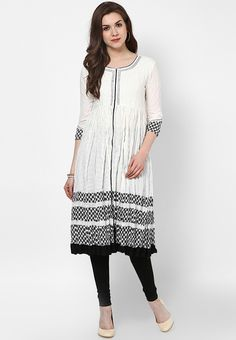 Off White Embroidered Cotton Kurti - SPAN Kurtas & kurtis for women | buy women kurtas and kurtis online in indium