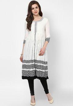 Off White Embroidered Cotton Kurti - SPAN Kurtas & kurtis for women | buy women kurtas and kurtis online in indium