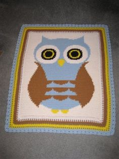 This crochet baby blanket is adorable!  owl baby afghan crocheted by lanesgma