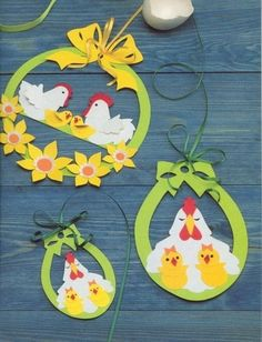 Cute Easter ideas from the paper! Kirigami chicken and rabbits for Easter ornaments and Easter cards. Easter Arts And Crafts, Spring Crafts, Cute Crafts, Diy And Crafts, Paper Crafts, Kids Crafts, Chicken Crafts, Easter Activities, Art For Kids