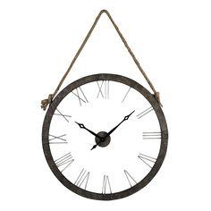 Metal Wall Clock Hung On Rope Rustic Iron,Silver