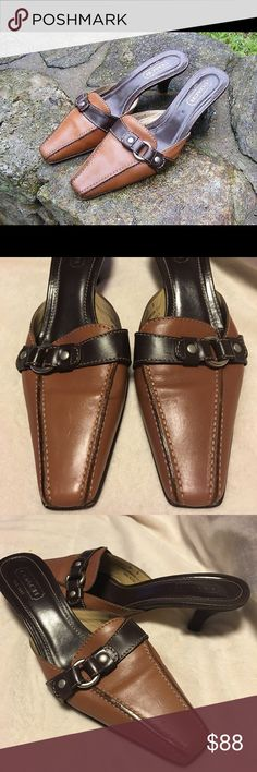 Coach Maddison Leather Chrome Ring 2 toned Mules Gorgeous! 2 toned tan and brown leather, band across top with chrome ring, wood kitten heel, made in Italy -never worn style- Maddison Coach Shoes Mules & Clogs