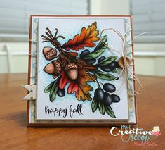 Happy Fall Card using Power Poppy Stamps Copics used:      N0, N1, N3, N5, N7, N9     R35, R37, R39     E11, E13, E17, E37, E93, E97, E99     W5, W7, W9     Y21, Y26, Y28, Y35     YR12, YR14, YR04     G82, G85     B000, B21, B41     BG10, BG70