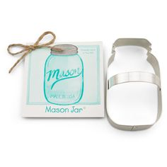 """Ann Clark Mason Jar Cookie Cutter 4 3/8"""". Made in the USA. Cutter is the perfect shape for wedding favors- use it to cut mason jar cookies for said events, or just give away the cutter itself! Also makes a thoughtful country-style gift for someone who has an elegant rustic touch. Size: 4 3/8"""".  US made tin-plated Steel. Hand Wash."""
