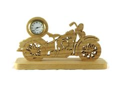 Vintage Style Motorcycle Mini Desk Clock Handmade From Ash Wood By KevsKrafts by KevsKrafts, $45.97 USD @kevskrafts #bmecountdown