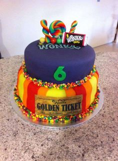 Willy Wonka birthday party cake! See more party planning ideas at CatchMyParty.com!